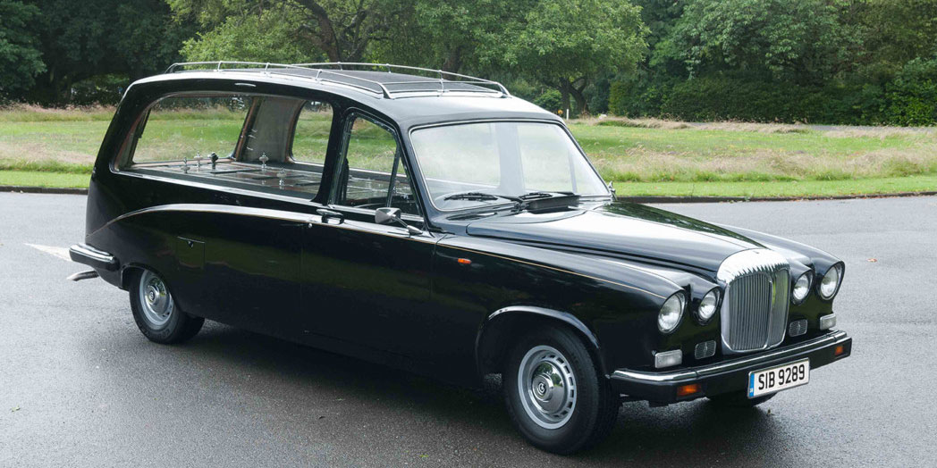 Traditional black hearse vehicle for funerals