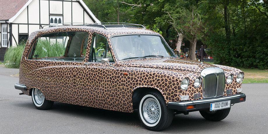 Alternative funeral transportation - leopard print hearse