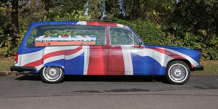 Alternative funeral transportation - Union Jack Taxi Hearse