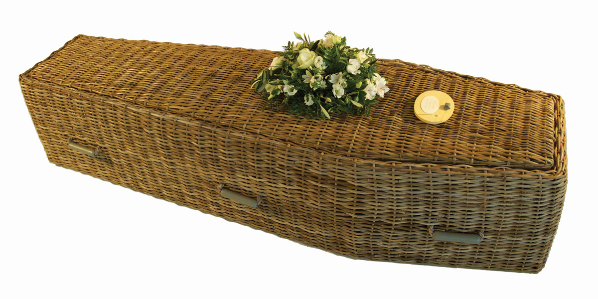Natural wicker coffin