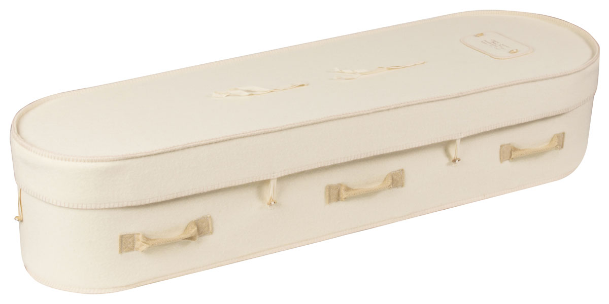 white wollen coffin