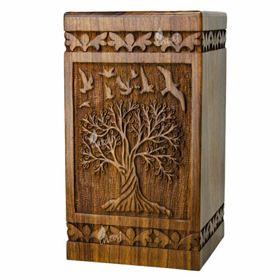 Wooden urn for ashes