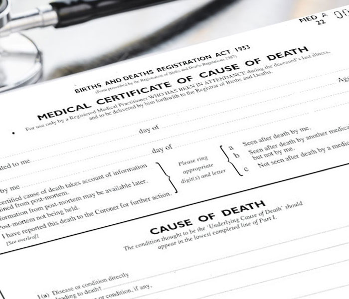 The Medical Cause of Death Certificate (MCCD) used when registering a death