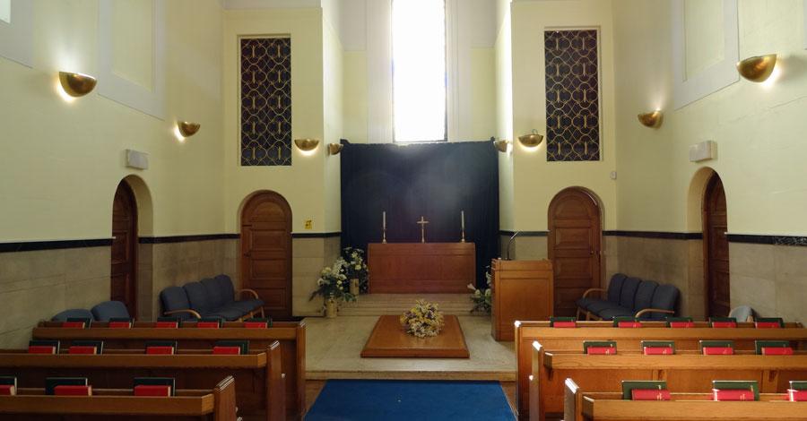 Interior of the chapel at Kingston Crematorium